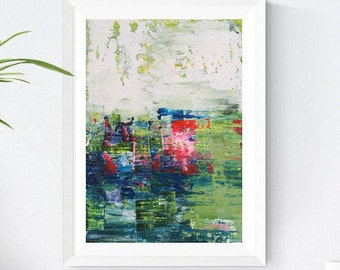 abstract painting original, landscape, white, Wall Art, green, abstract art