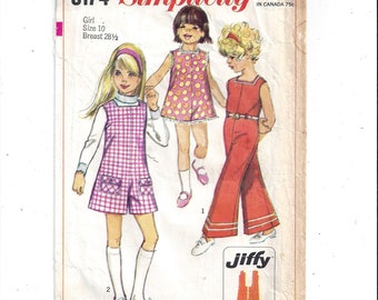 Simplicity 8174 Pattern for Girls' JIFFY Pantjumper or Pantdress, Size 10 From 1969, Vintage Home Sewing Fashion, Easy Cut Easy Sew Jumpsuit