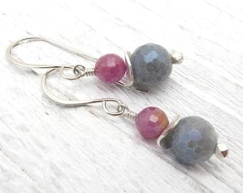 gemstone earrings, labradorite earrings, ruby earrings, sterling silver, July birthstone, July birthstone gift, gift for her, ruby gift,