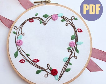 Heart Wreath-hand embroidery pattern   floral design   digital PDF   embroidery pdf   embroidery pattern