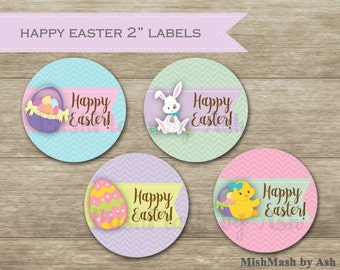 Easter Stickers, Easter Party Favors, Easter Egg Hunt Labels, Easter Egg Hunt Stickers, Happy Easter Stickers, Happy Easter Cupcake Topper