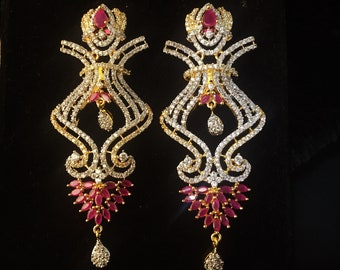 Traditional Indian Bollywood Style Designer Earring Fashionable American Diamond AD CZ Gold Plated