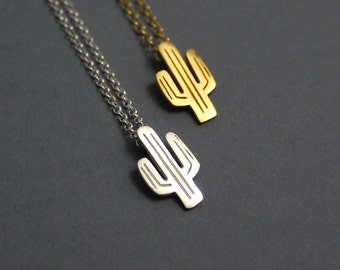 Necklaces For Women, Cactus Necklace, Dainty Necklace, Plant Necklace, Gold Necklace, Silver Necklace, Cactus Jewelry, Succulent Necklace,