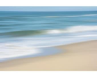 Abstract Beach Wall Art, Coastal Decor, Nautical Decor,Tranquil Seascape, Beach Photo, Soothing Nature Beach Wall Art,Waves,Blue Beige White