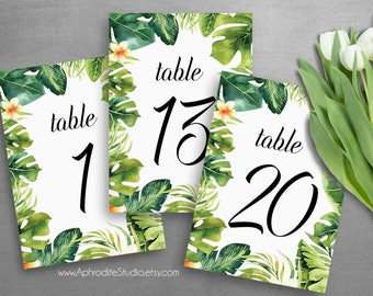 Beach table numbers wedding - Tropical table numbers - printable table numbers - Beach wedding table numbers tropical wedding sign AS-TR125