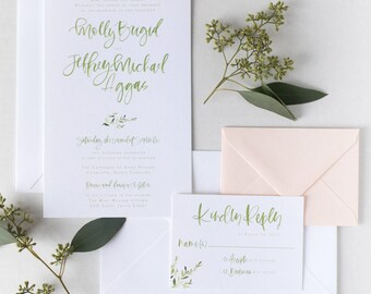 The Molly - Simple Branch Watercolor Brush Lettering Wedding Invitation Suite
