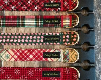 "Winter Dog Collar, Holiday Dog Collar, Boy Dog Collar, Girl Dog Collar, Dog Collars, Dog Collar,  ""The Home For the Holidays Collection"""
