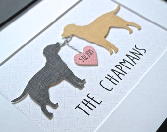 CUSTOM DOG Art, Gift for Dog Lover, Labrador Art, Unique Wedding Gift, Personalized Dog Gift, Dog Lover Gift, Labrador, Gift for Couple