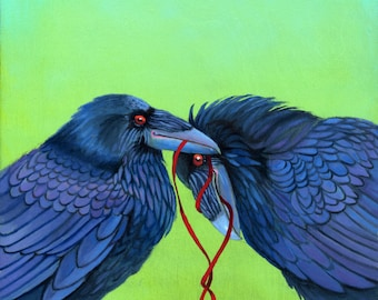 LET'S TIE One on raven -  raven, crow, native american, indian, corvid, love in two sizes