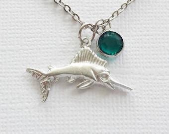 Fish Pewter Necklace Silver Plated Pewter Marlin Sailfish Swordfish Ocean Nautical Beach Summer Animal Jewelry Swarovski Channel Birthstone