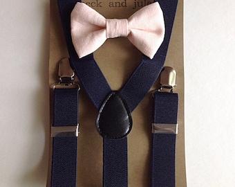 Boys navy suspenders w/blush pink linen bow tie