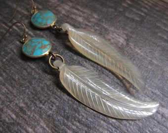 Turquoise Earrings,Gold Turquoise Earrings,Feather earrings,Long Earrings,Gold Feather Earring,Turquoise Earrings Gold,Tribal Jewelry,Boho