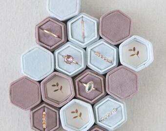 Velvet Wedding Ring Box with Monogram option