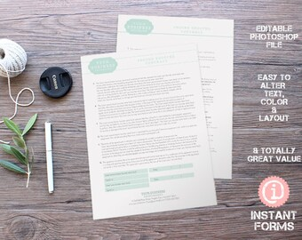 Photography Contract for employing a Second Shooter - IF249 - INSTANT DOWNLOAD. You'll receive 2 psd files