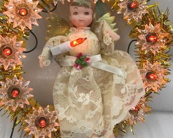 Vintage Christmas Tree Topper, Angel Tree Topper, Tree Topper, Wreath Tree Topper