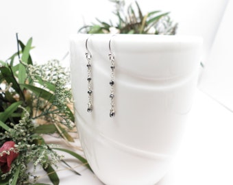 Black Diamond Earrings, Genuine Black Diamonds, Delicate Necklace In 14K White Gold, April Birthstone, Keira's Crystal Creations
