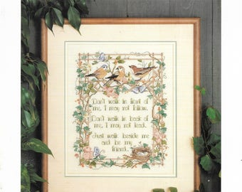 Vintage Counted Cross Stitch Graph Pattern - WALK BESIDE ME by Nancy Rossi for Dimensions - c. 1989 - Beautiful Serenade to a Friend!