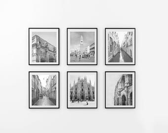 Italy Art Set of 6 Milan Venice Rome Prints, Italy Photography, Italy Wall Decor, Large Wall Art, Black and White Photo, Colosseum