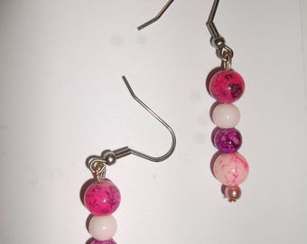 tangy earring 3 pink beads