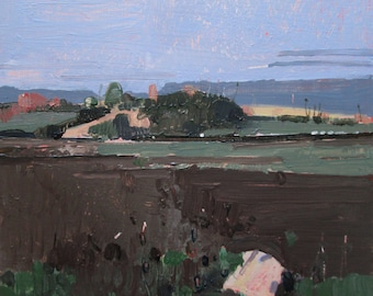 Rock and Hillock, Original Autumn Landscape Painting on Panel, Ready to Hang, Stooshinoff