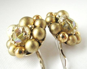 Gold Shimmer - Vintage Beaded Cluster Jewel Bridal Bobby Pin Set - Pearl and Crystals Hair Pins