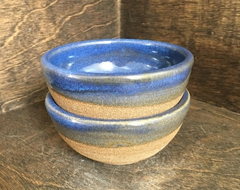 Ready to ship! - Pair of Blue and Raw Clay Small Bowls, Prep Bowls, Salt and Pepper Pinch Bowls