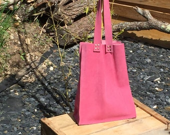 "Tote bag with leather-suede ""strawberry"""
