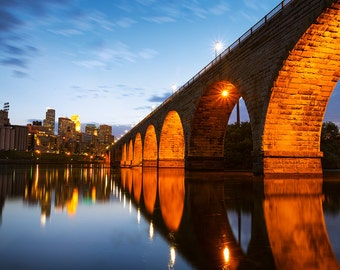 Stone Arch Bridge Columns, Minneapolis, Minnesota, Mississippi River, Cityscape, Reflection - Travel Photography, Print, Wall Art