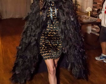 Black Ostrich Plume Feather Cape Couture