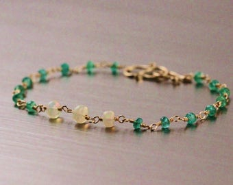 Zambian Emerald Ethiopian Welo Opal Bracelet, Gold Filled, Wire Wrapped, Green White Rosary, May October Birthstone, Handmade Custom Length