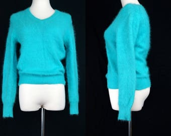 Angora Turquoise Sweater Brass Plum 1980s V neck Fitted Soft Fuzzy Small Cropped 80s Knit Top