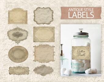 Digital Vintage Labels - Antique Printable Labels - Digital Labels - Labels Sheet - Vintage Labels Download Printable - INSTANT DOWNLOAD