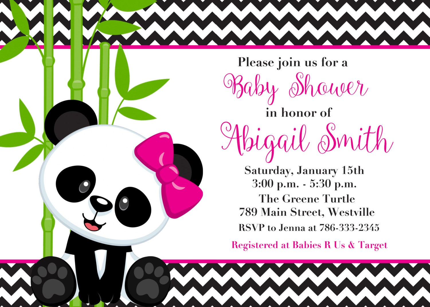 Panda Bear Boy or Girl Pink or Blue Baby Shower Invitation