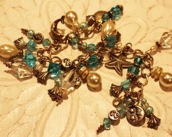 Aqua Blue Mega Charm Bracelet // Beach Bracelet // Beach Charm Bracelet