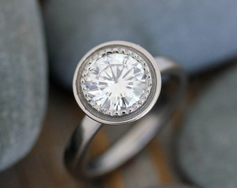 Ethical Engagement Ring, Moissanite Engagement Ring, White Gold Ring, Halo Ring, White Gold Jewelry