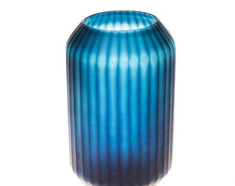 Cobalt blue smoke vase - tall - W 19 cm / D 19 cm / H 35 cm / 2.7 kg
