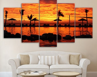 Sunset Canvas Art, Sunset Wall Art, Beacg Sunset Canvas Art,Resort Sunset 5 Piece Canvas Print, Sunset Wall Decor, Framed