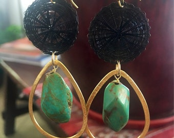 Long black earrings | black and turquoise earrings | black and gold dangling earrings | turquoise earrings | turquoise and gold earrings