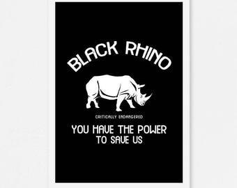 Wildlife print, wildlife protection poster, animal wall art, conservation print, animal poster, rhino print, instant download, animal print
