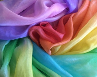 RAINBOW SILK 1.5 MTS ***Hand-Dyed Rainbow**100% Pure Silk**Silk Play Veil**Rainbow Silk Cape**Hemmed Rainbow Silk**Free Postage in Australia