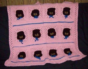 Teddy Bear Blanket, Toddler Bedding, Crochet Afghan For Nursery