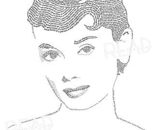 Audrey Hepburn Word Art