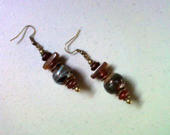 Forest Green, Slate Blue and Cranberry Red Earrings (1471)