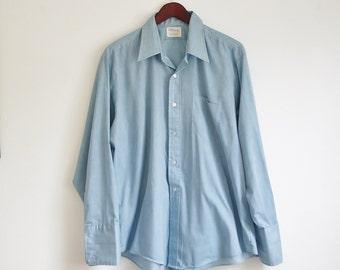 Vintage Mens Dress Shirt, French Cuff Shirt, Blue Checked Print, Button Down Dress Shirt, Collared Dress Shirt, Chest 52, 2xl 3xl