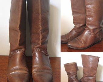 Vintage 80s Brown Leather Almond Toe Slouch Boots Size 8 1/2