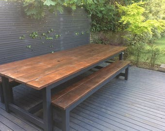 Rustic Patio Table with integral Ice Buckets/dining table/garden table/garden furniture