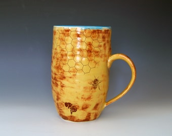 Marigold Bee Mug - Handmade Pottery - Large Coffee Cup - Bee Gifts - 10% Donation - Ceramic Cups
