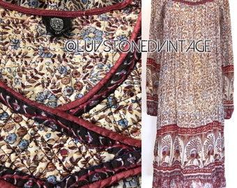 Vintage 70s Indian Dress Ethnic Boho Hippie Cotton Gauze Metallic Lurex India Gypsy Festival Tent Midi Maxi Dress . XS/S . D106 . 1269.92017