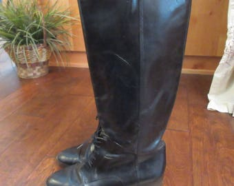 Riding Boots Marc Alpert Collection by Maria Pia Vintage Black Leather Riding Boots Shoes Sz 9M