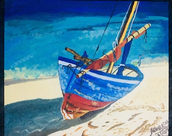 Spirit Boat, A Boat on the Beach, Beach Art, Acrylic Art, Acrylic Painting, Abstract Painting, Boat Acrylic Painting